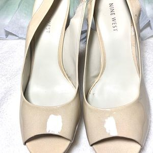 Nine West Patent nude wedges